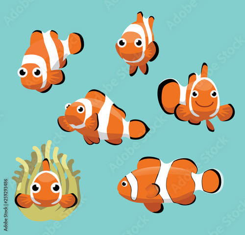 Pinturas sobre lienzo  Cute Clownfish Various Poses Cartoon Vector