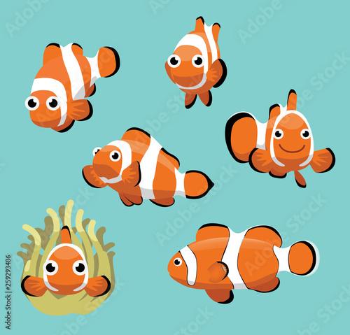 Fotografie, Obraz Cute Clownfish Various Poses Cartoon Vector