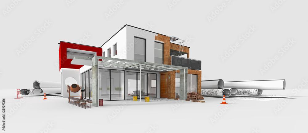 Fototapeta Projet de construction d'une maison d'architecte