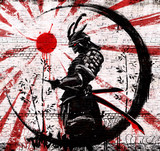 Fototapeta Młodzieżowe - Graffiti on a brick wall of a Japanese warrior in an ink circle with a red sun