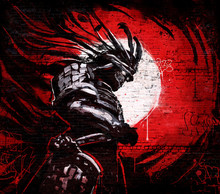 Graffiti On A Brick Wall Of Japanese Demon In A Mask With Glowing Eyes On The Background Of A Bloody Sunset