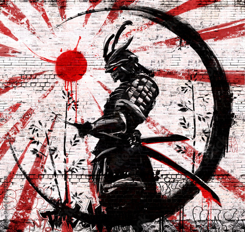 Photo  Graffiti on a brick wall of a Japanese warrior in an ink circle with a red sun