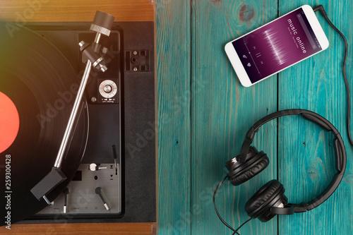Listen music online concept - online music player app on smartphone