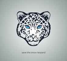 Minimalist Snow Leopard Head Vector Emblem