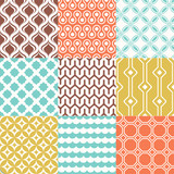 Set of colorful trendy retro geometric seamless patterns for interior design. Vector backgrounds collection - 259304478