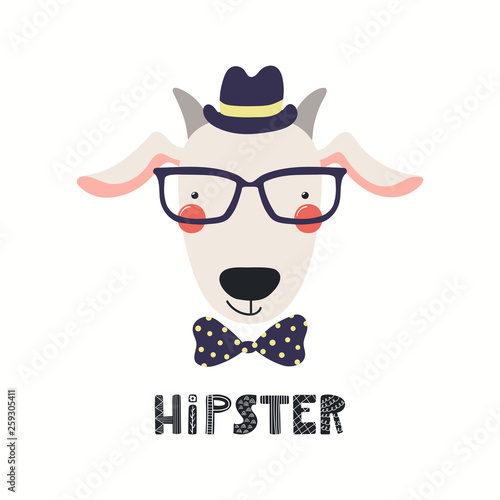 Hand drawn vector illustration of a cute hipster goat in glasses, with lettering quote Hipster. Isolated objects on white background. Scandinavian style flat design. Concept for children print.