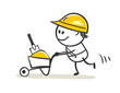 Working. Vector illustration, little man with a builder wheelbarrow, funny characters