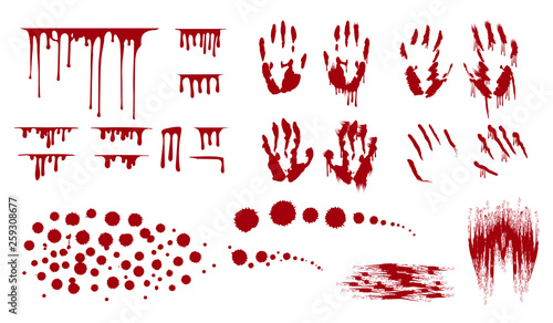 Fényképezés  Blood splatter, bleed stains and handprint