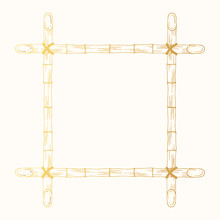 Square Hand Drawn Golden Wooden Border Japanese Frame Made Of Stems. Vector Gold Bamboo Banner, Template Or Photo Board Isolated Background.