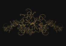 Golden Vine Branches With Bunch Of Grapes And Leaves. Ornate Decoration Divider For Wine Menu Or Label Design. Vector Gold Foliage Background.