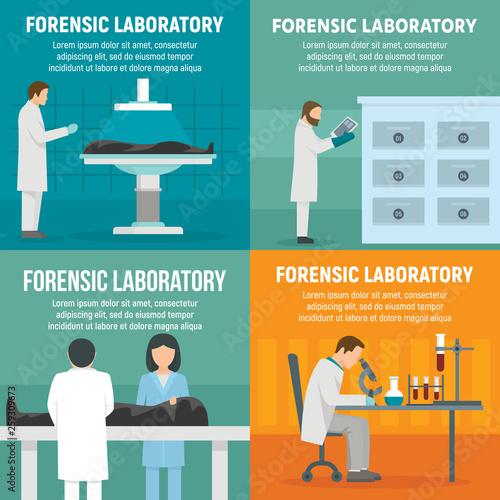 Obraz na plátně Forensic laboratory banner set
