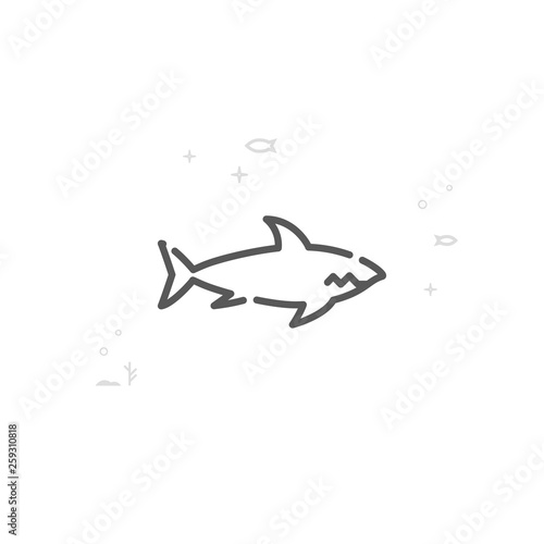 Fotografia, Obraz  Shark Vector Line Icon, Symbol, Pictogram, Sign