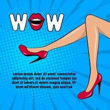 Slender Female Legs In Red Hee...