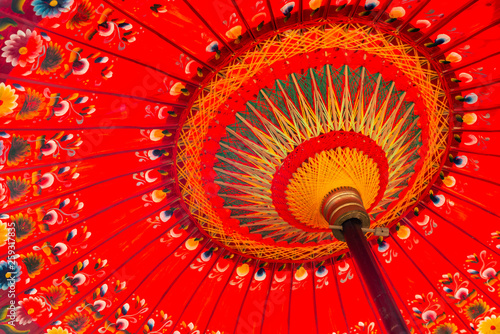 Fotomural  Detail shot of a red umbrella in Bali, Indonesia