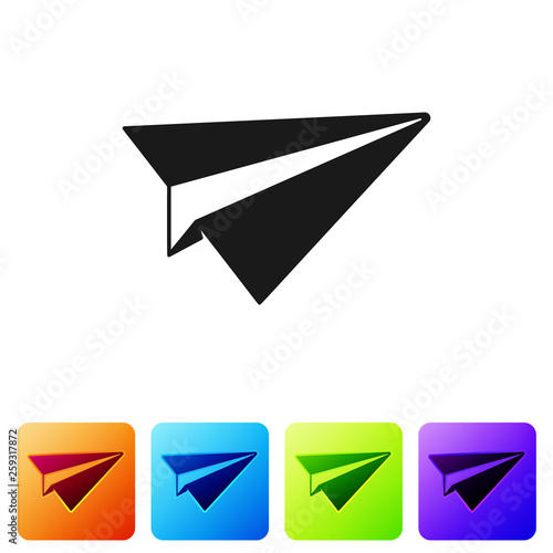 Black Paper plane icon isolated on white background  Paper