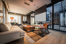 Interior Of A Living Room In A Luxury Penthouse Apartment