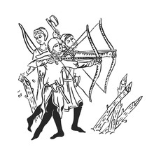 Medieval Art Archers With Longbow Ink Illustration