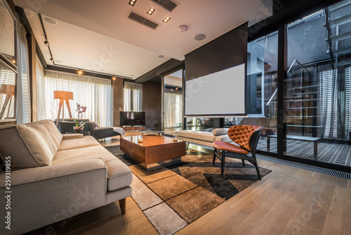 Interior of a living room in a luxury penthouse apartment Canvas Print