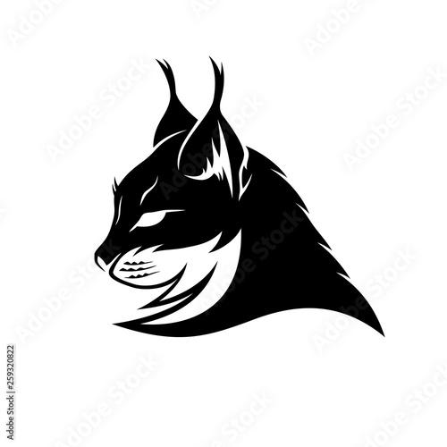 Fotografia Lynx black sign mascot on a white background.
