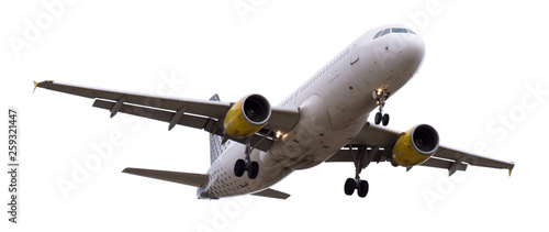 Poster Avion à Moteur modern airplane on isolated white background