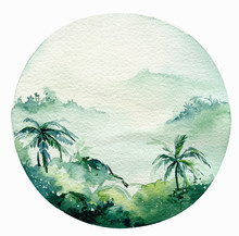 Watercolor Ocean Surf Beach, A...