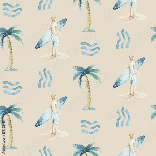 Watercolor style seamless surfing pattern of surf man and woman surfers silhouettes with surfboard wave background Canvas Print
