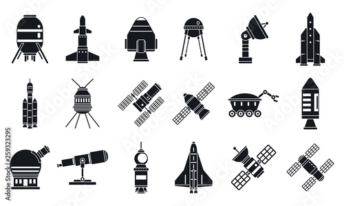 Photo Spaceship research technology icons set
