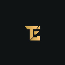 TE Or ET Logo Vector. Initial Letter Logo, Golden Text On Black Background