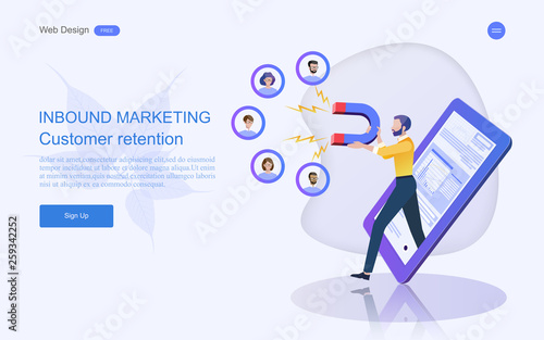 Modern flat design concept of marketing for banner and website templates Inbound marketing, customer attraction, , analysis including marketing promotion, vector illustration Wallpaper Mural