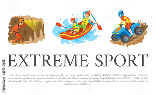 Fotografie, Obraz  Extreme sport vector, rafting team sitting in boat man and woman, speleotourism male walking in cave with flashlight