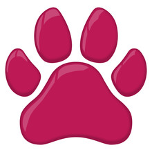 Pink Cat Or Dog Paw Print Vector Illustration