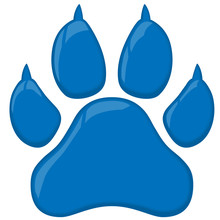 Blue Wildcat Paw Print Vector Illustration