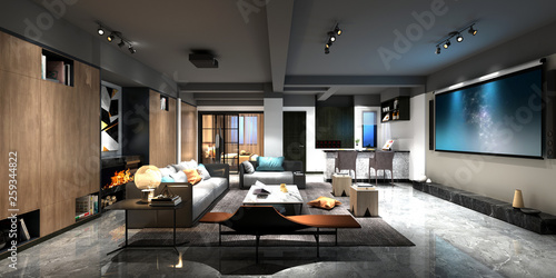Photo  3d render home cinema room
