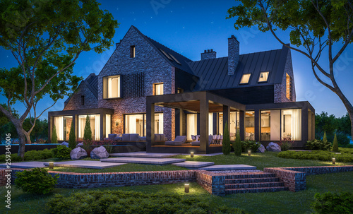 3d rendering of modern cozy clinker house on the ponds with garage and pool for sale or rent with beautiful landscaping on background Fototapete