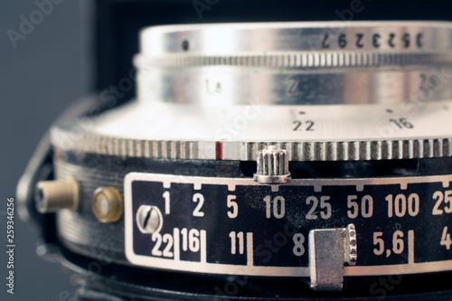 Vintage camera lens and controls Canvas Print