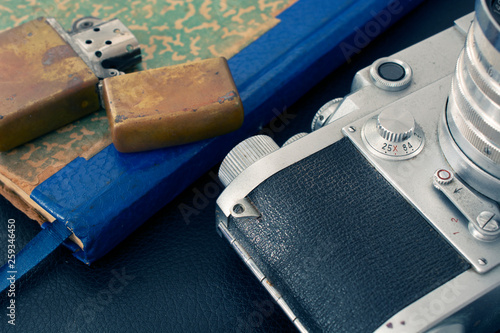 Vintage camera, lighter and notebook Canvas Print