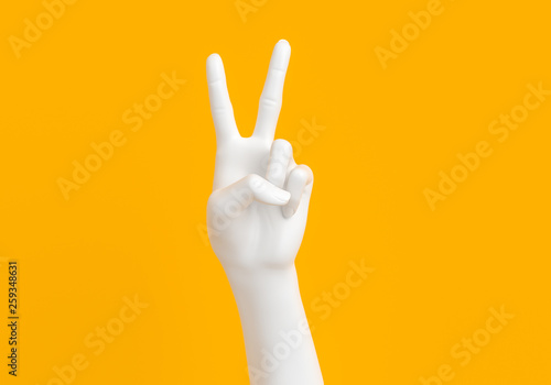 Foto  Peace hand symbol, Victory sign gesture, two fingers white hand isolated on yell