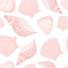 Warm Pink Seashells Vector Sea...
