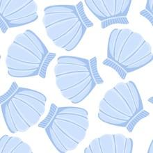 Blue Seashells Vector Seamless Pattern. Abstract Shell Marine Wallpaper.
