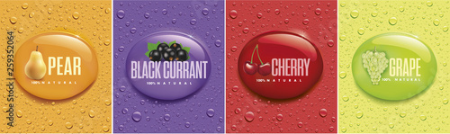 many fresh drops on different color backgrounds with pear, black currant, cherry, grape