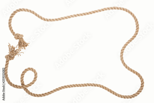Photo  frame of brown and jute rope with knots isolated on white