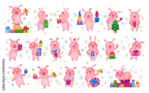 Poster Hibou Set of christmas pigs with christmas gifts. Vector