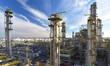 canvas print picture Industrieanlage: Raffinerie zur Verarbeitung von Erdöl zu Benzin und Diesel// pipeline,storage tanks and buildings of a refinery - industrial plant for fuel production