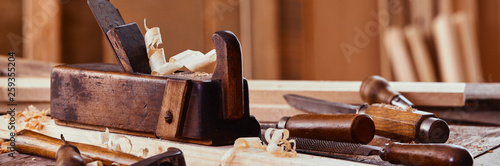 Panorama banner of vintage woodworking tools Fototapet