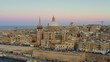 Aerial view of Valletta city in 4K. Sunset sky. Malta country