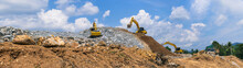 Panorama, Excavators And Stone Crushing Machine Of Mining Under A Blue Sky With Clouds