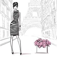 Beautiful Woman In Retro Style In Paris . Vintage Dress Sixties Years.