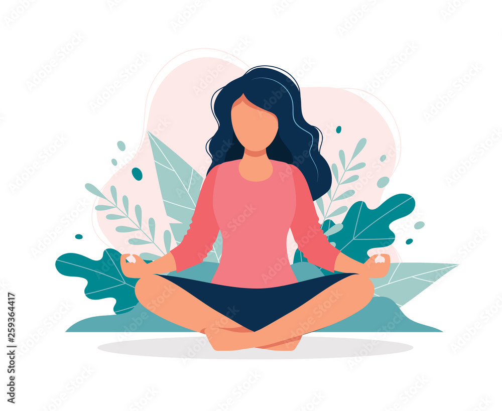 Fototapeta Woman meditating in nature and leaves. Concept illustration for yoga, meditation, relax, recreation, healthy lifestyle. Vector illustration in flat cartoon style