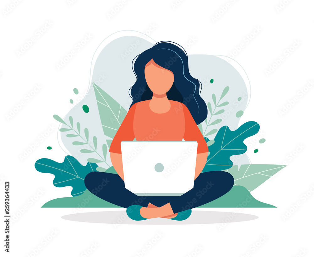 Fototapeta Woman with laptop sitting in nature and leaves. Concept illustration for working, freelancing, studying, education, work from home. Vector illustration in flat cartoon style