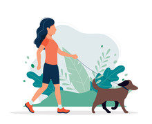 Happy Woman With A Dog In The Park. Vector Illustration In Flat Style, Concept Illustration For Healthy Lifestyle, Sport, Exercising.